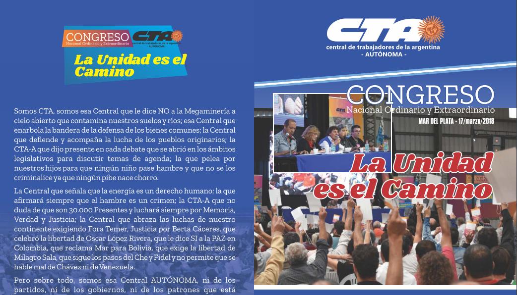 CONGRESO DE LA CTA-A 2018: La unidad es el camino