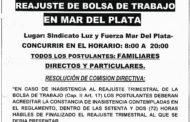 31 DE JULIO: REAJUSTE BOLSA DE TRABAJO EN MAR DEL PLATA