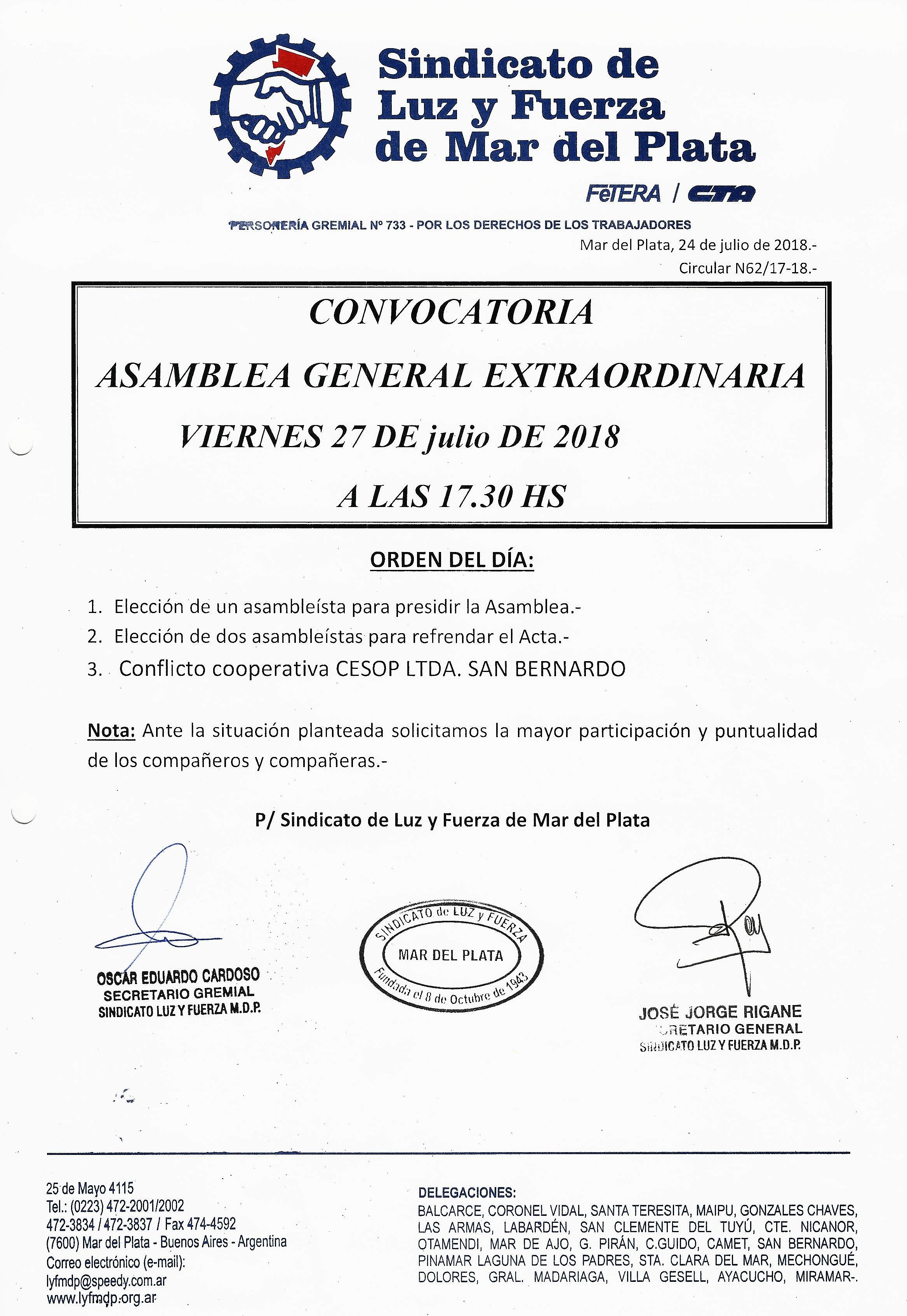 CONVOCATORIA ASAMBLEA GENERAL EXTRAORDINARIA 27-7-18