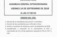CONVOCATORIA A.G.E. 14 DE SEPTIEMBRE DE 2019