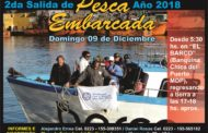 SEGUNDA SALIDA DE PESCA EMBARCADA 2018:  DOMINGO 9 DE DICIEMBRE