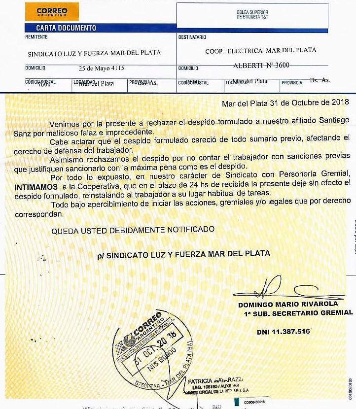 RECHAZAMOS EL DESPIDO ARBITRARIO DE SANTIAGO SANZ