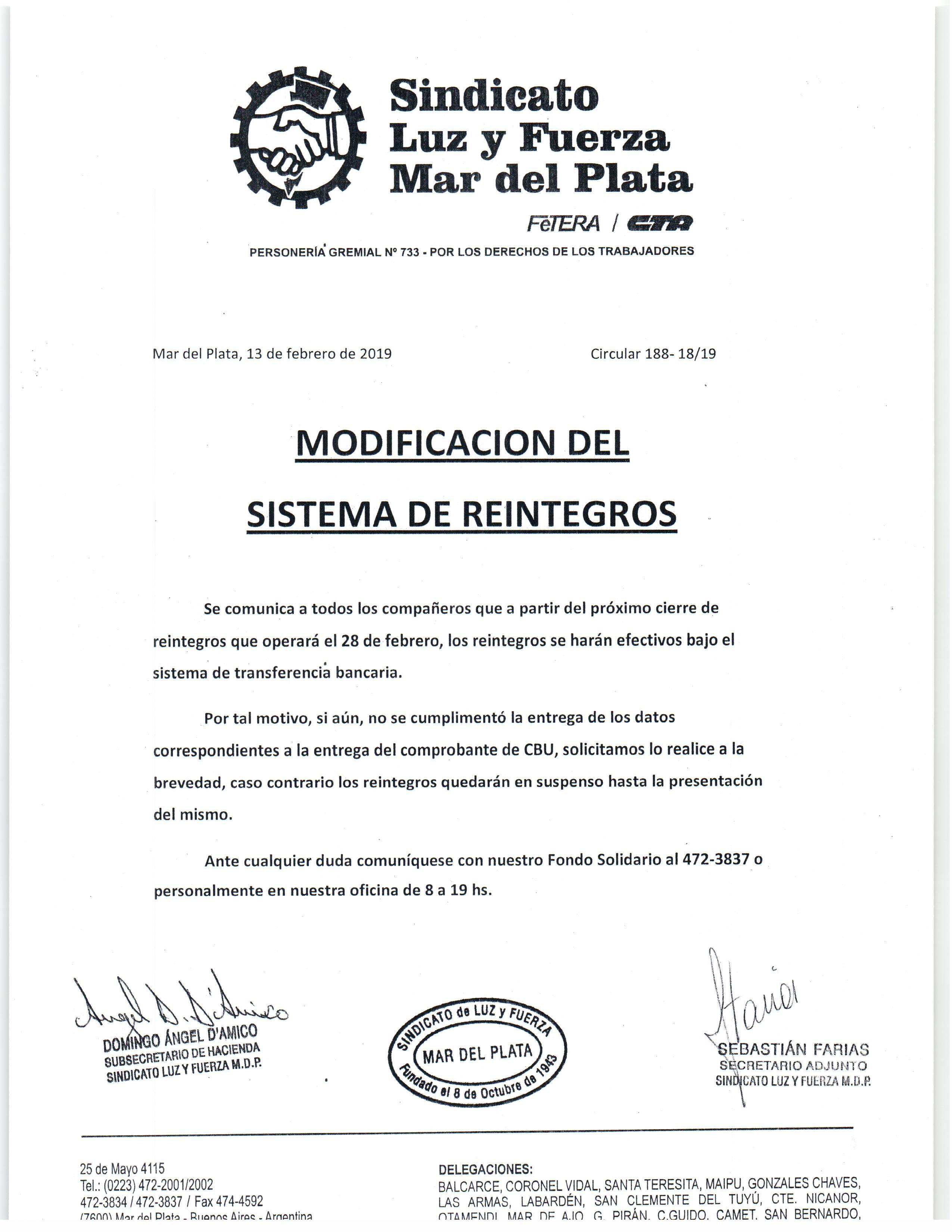 MODIFICACIÓN DEL SISTEMA DE REINTEGROS DE FOSOLyF