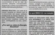 ENERGÍA REACTIVA, OTRO INGRESO MILLONARIO DE EDEA S.A.