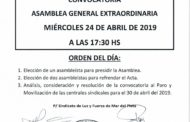 CONVOCATORIA ASAMBLEA GENERAL EXTRAORDINARIA 24.4.19