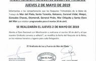 MODIFICACIÓN REAJUSTES BOLSA DE TRABAJO: JUEVES 2 DE MAYO DE 2019