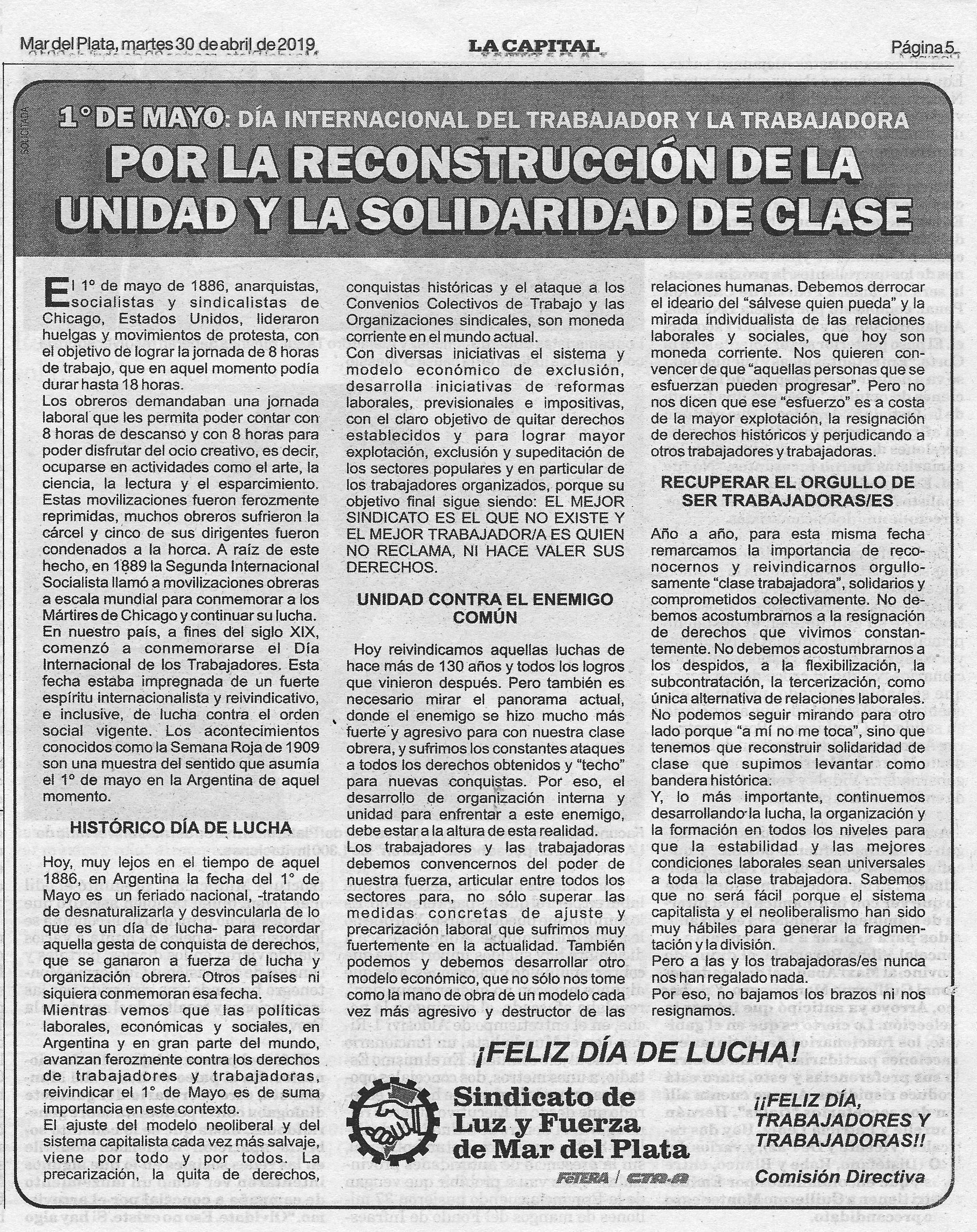 1° DE MAYO: DIA INTERNACIONAL DEL TRABAJADOR Y LA TRABAJADORA