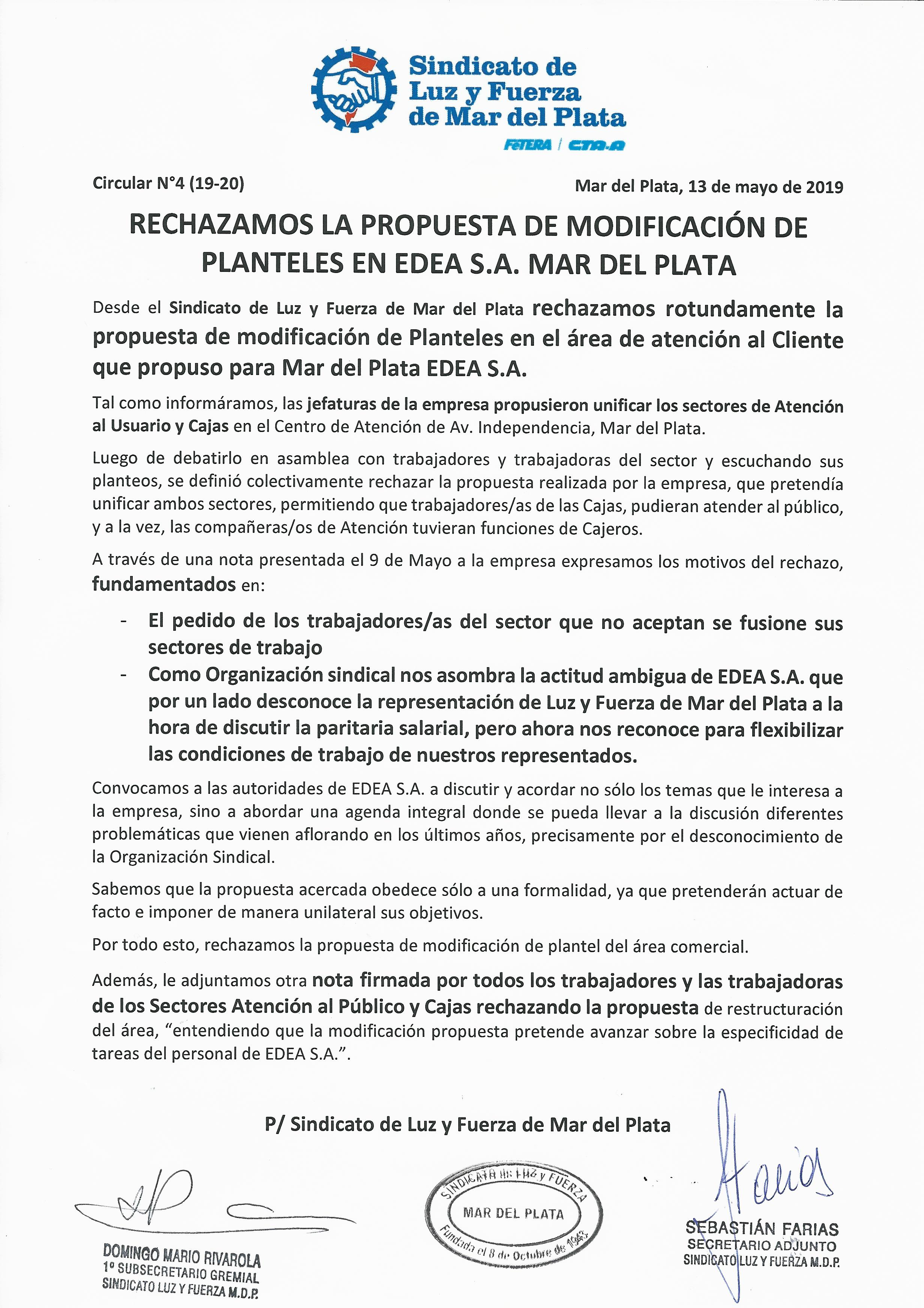 RECHAZAMOS LA PROPUESTA DE MODIFICACIÓN DE PLANTELES EN EDEA S.A. MAR DEL PLATA