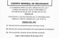 CONVOCATORIA AL CUERPO GENERAL DE DELEGADOS/AS PARA EL 28 DE JUNIO DE 2019