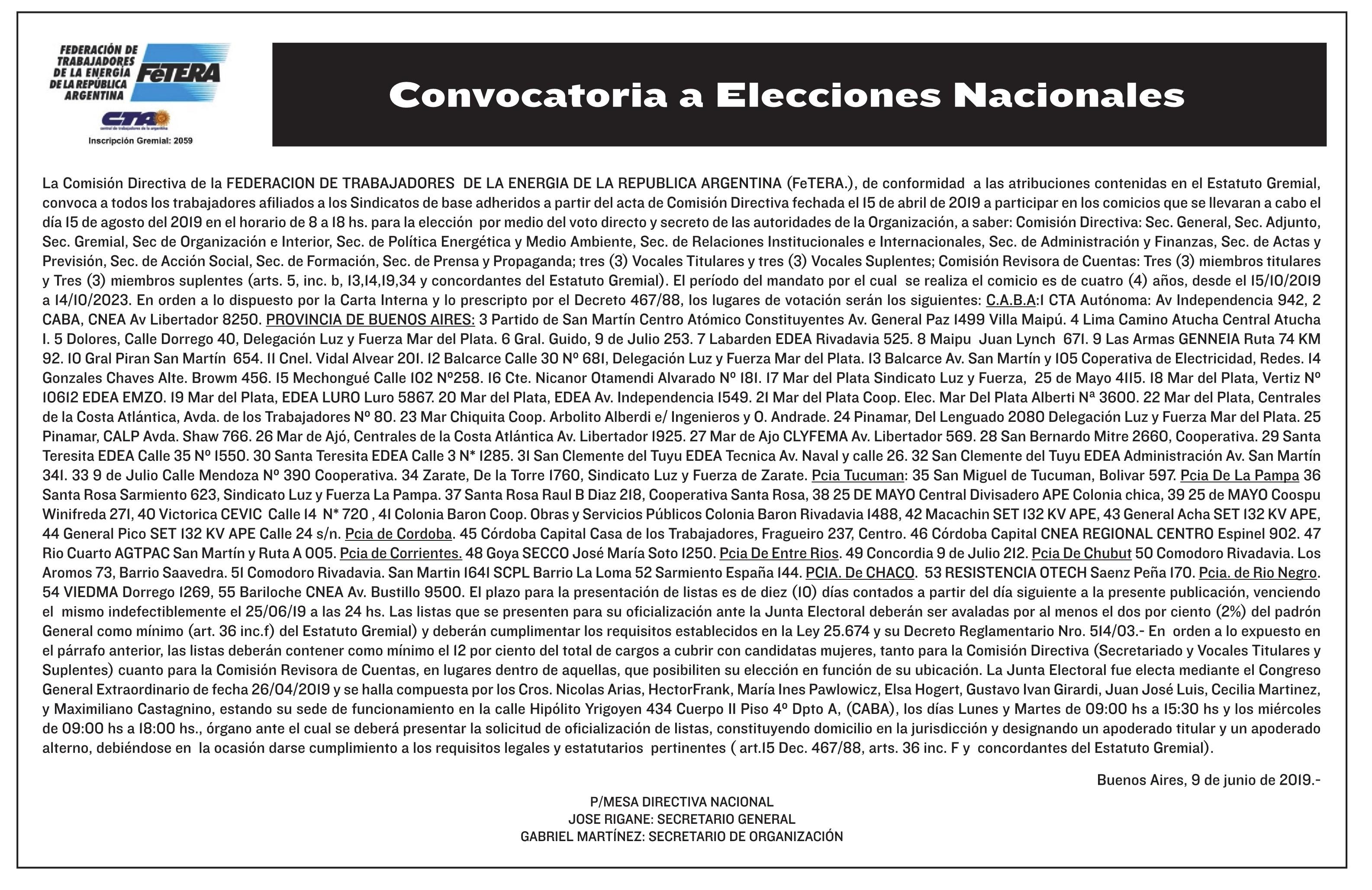 La FeTERA convocó a sus elecciones nacionales 2019