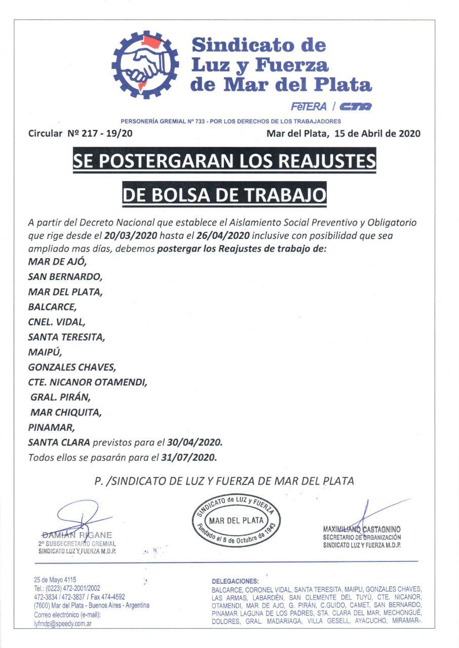 SE POSTERGAN LOS REAJUSTE DE BOLSA DE TRABAJO DEL 30 DE ABRIL