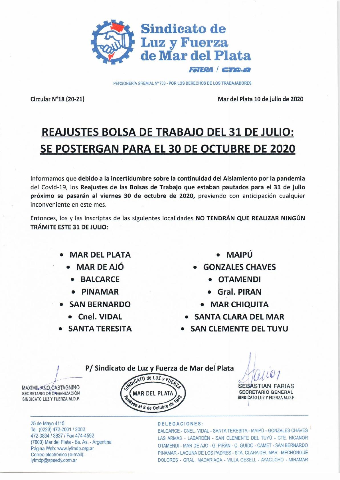 ATENCIÓN: SE POSTERGAN LOS REAJUSTES DE LA BOLSA DE TRABAJO QUE SE IBAN A REALIZAR EL 31 DE JULIO