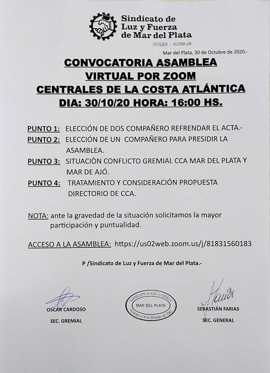 CONVOCATORIA A ASAMBLEA GENERAL EXTRAORDINARIA VIRTUAL