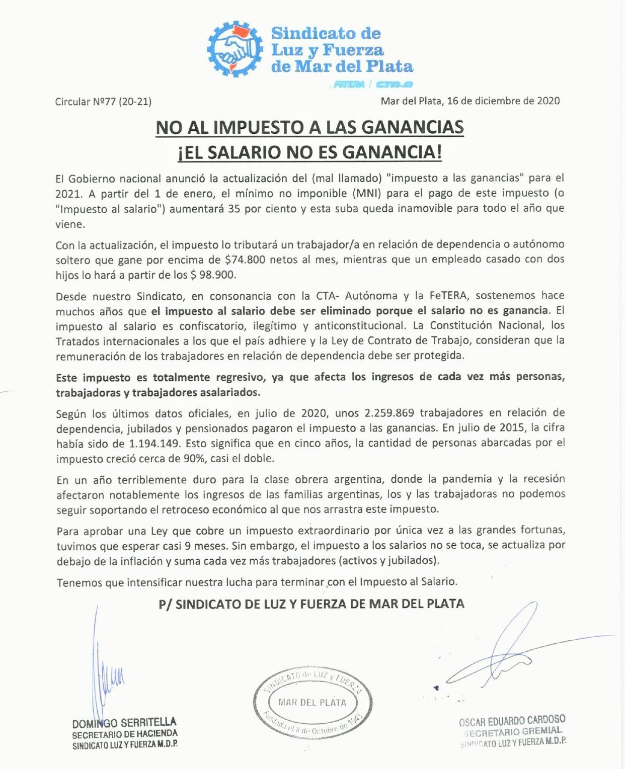NO AL IMPUESTO A LAS GANANCIAS ¡EL SALARIO NO ES GANANCIA!