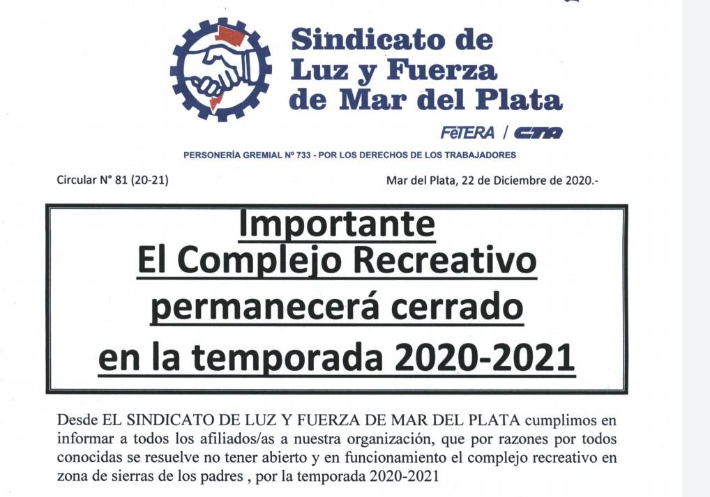 El complejo recreativo permanecerá cerrado en la temporada 2020-21
