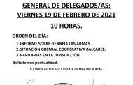 CONVOCATORIA AL CUERPO GENERAL DE DELEGADOS/AS: VIERNES 19.2.21
