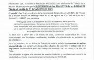 BOLSA DE TRABAJO: SUSPENSIÓN DE REAJUSTES HASTA EL 31 DE AGOSTO DE 2021