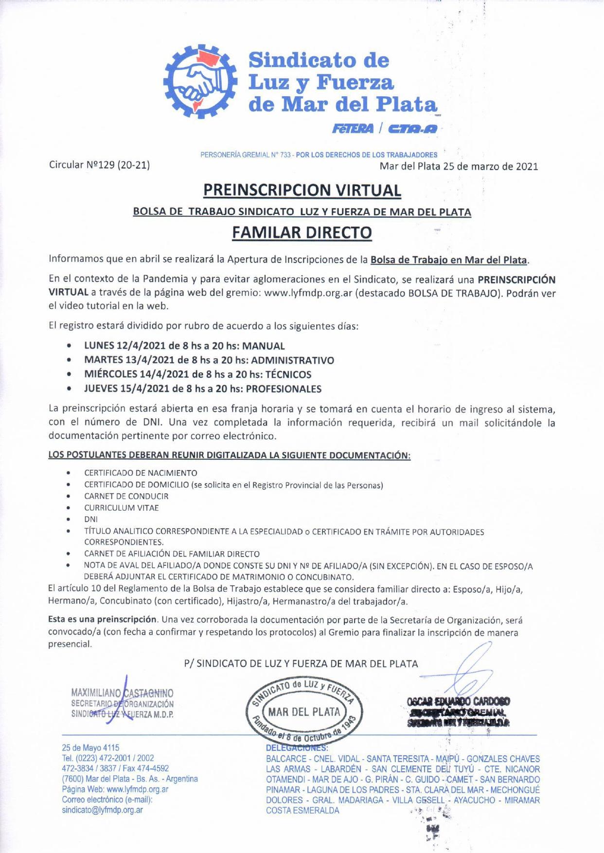 APERTURA DE PRE INSCRIPCIÓN VIRTUAL A LA BOLSA DE TRABAJO MdP - FAMILIAR DIRECTO