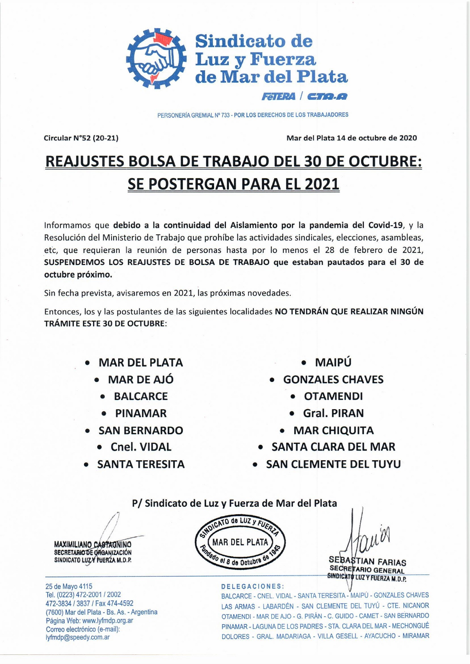 REAJUSTES BOLSA DE TRABAJO DEL 30 DE OCTUBRE:  SE POSTERGAN PARA EL 2021