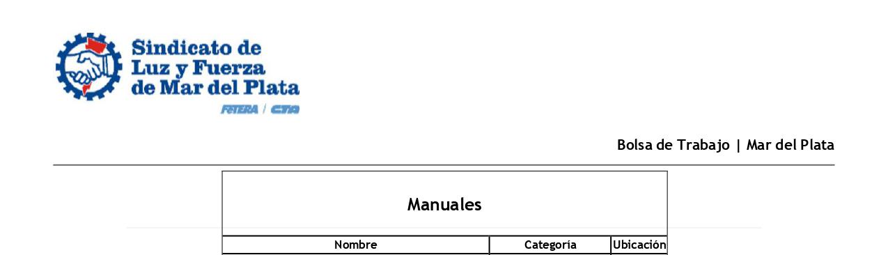 BOLSA DE TRABAJO MdP: LISTADO «MANUAL»