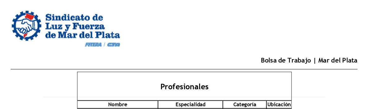 BOLSA DE TRABAJO MdP: LISTADO «PROFESIONALES»