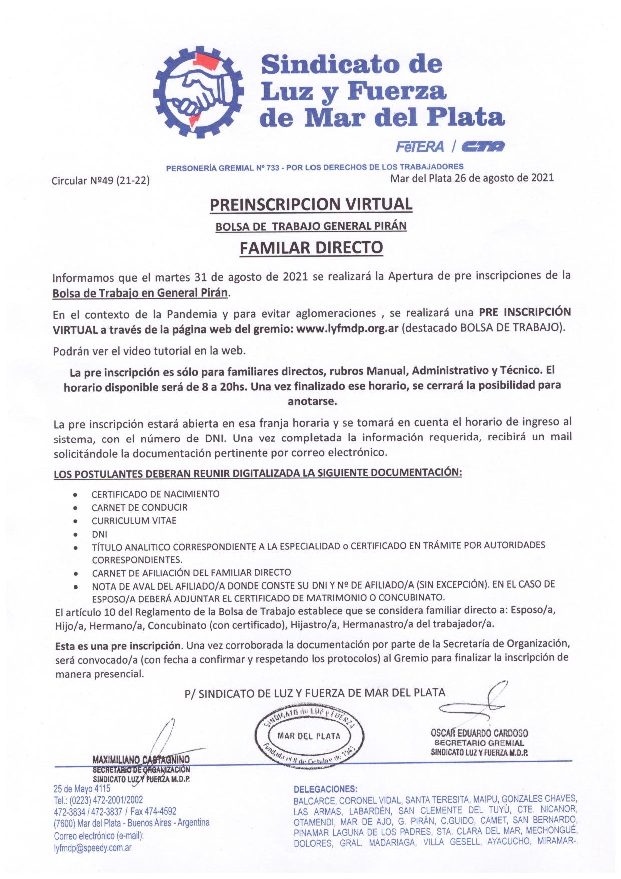 PRE INSCRIPCION VIRTUAL EN LA BOLSA DE TRABAJO GENERAL PIRÁN PARA FAMILAR DIRECTO